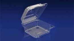 CHC-925<br></br>6″ SQUARE CLEAR HINGED CONTAINER <br></br>3 Tiers x 9 cases per tier = 27 cases per pallet