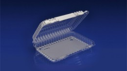 CHC-930<br></br>     9″ OBLONG CLEAR HINGED CONTAINER / SHALLOW DEPTH<br></br> 6 Tiers x 4 cases per tier = 24 cases per pallet