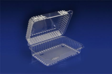 CHC-940<br</br> 9″ OBLONG CLEAR HINGED CONTAINER / DEEP<br></br> 6 Tiers x 4 cases per tier = 24 cases per pallet