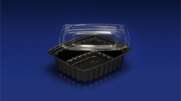 DLC-032B  <br></br>32 OUNCE BLACK DELI CONTAINER AND CLEAR LID <br></br> 3 Tiers x 9 cases per tier = 27 cases per pallet